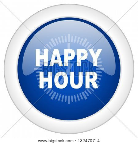 happy hour icon, circle blue glossy internet button, web and mobile app illustration