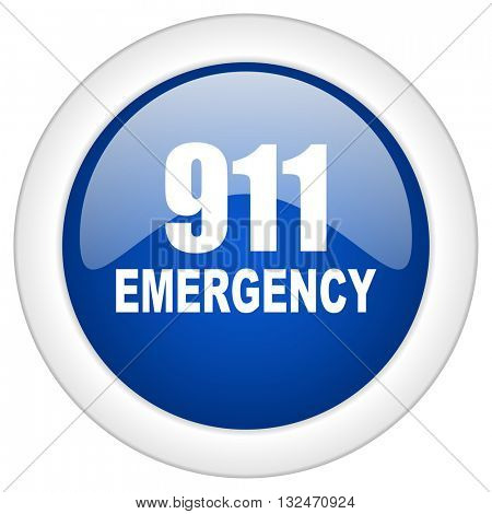 number emergency 911 icon, circle blue glossy internet button, web and mobile app illustration