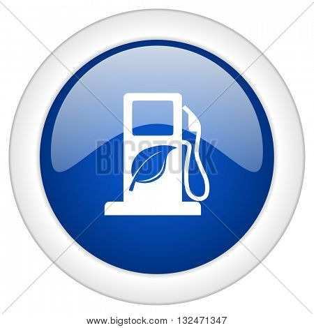 biofuel icon, circle blue glossy internet button, web and mobile app illustration