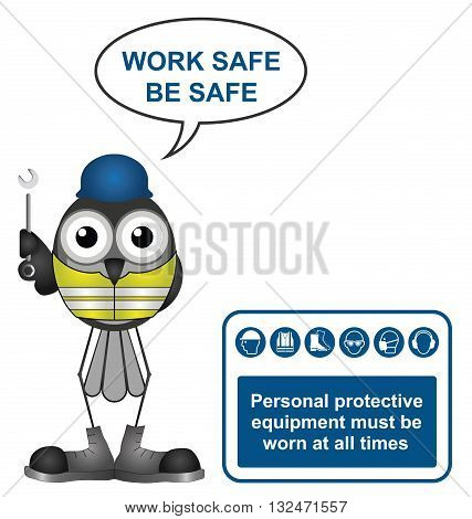 Construction industry mandatory wear personal protection equipment sign to current British Standards with work safe be safe message isolated on white background
