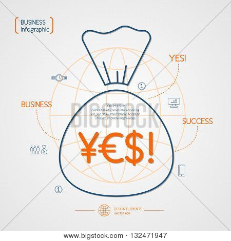 Vector illustration of business and Finance on the revenue and success in a flat linear style with a symbol of a money bag globe. For website design infographics poster advertising.