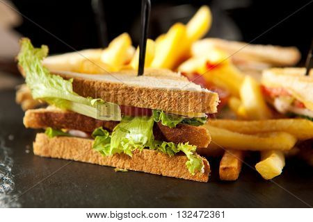 American Foods - Classic Club Sandwich with French Fries