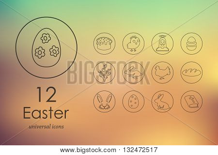 easter modern icons for mobile interface on blurred background