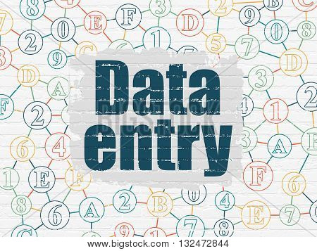 Information concept: Painted blue text Data Entry on White Brick wall background with Scheme Of Hexadecimal Code