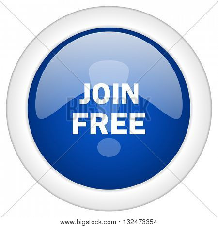 join free icon, circle blue glossy internet button, web and mobile app illustration