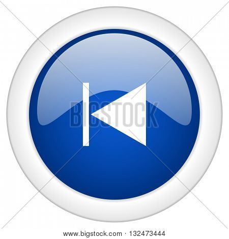 prev icon, circle blue glossy internet button, web and mobile app illustration