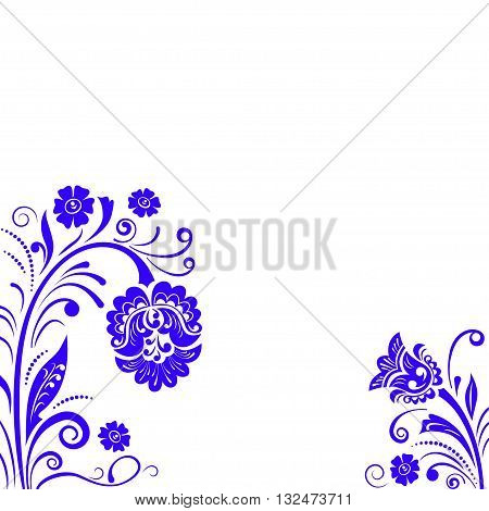 Abstract fancy flowers, stencil, decoration for card, window, door.