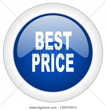 best price icon, circle blue glossy internet button, web and mobile app illustration