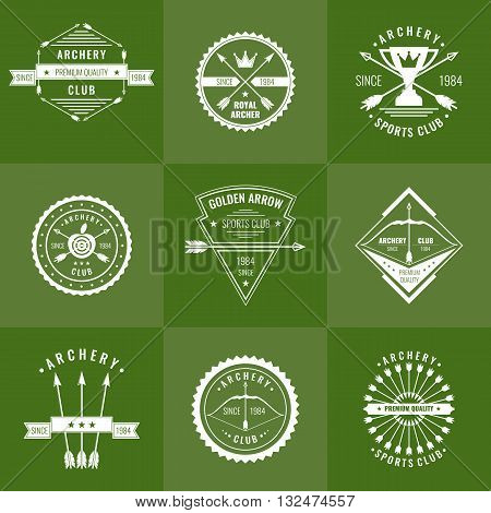 A set of logos labels and elements for the club of archery in a linear style against a green background. Suitable for design advertising posters.