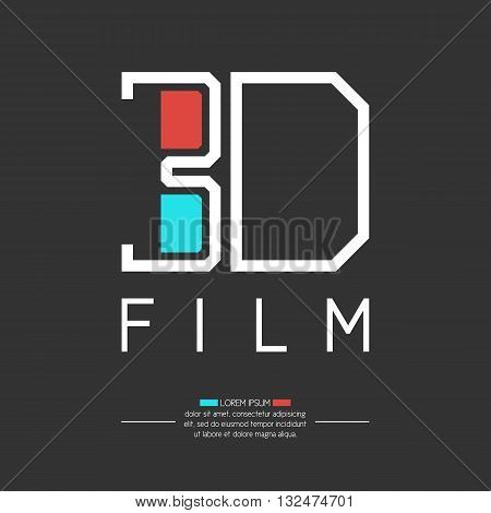 Vector illustration for a 3D movie with 3D glasses on a dark background. Elements and icons set for cards illustration poster and web design.