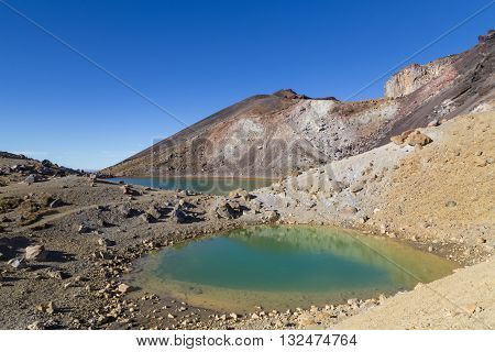 The Emerald Lakes on the Tongariro National Park on the north island in New Zealand.