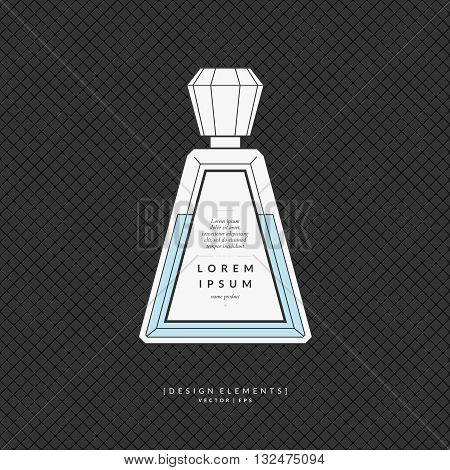 Vector illustration of a bottle of perfume on dark background. The elements ideal for design card poster.