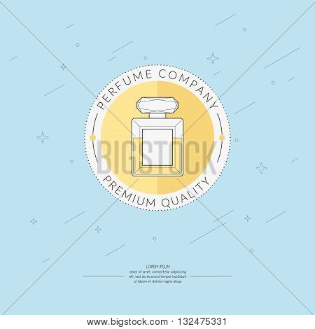 Vector illustration of a bottle of perfume on light blue background. The elements and logo ideal for design card poster.