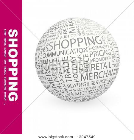 SHOPPING.Globe with different association terms.