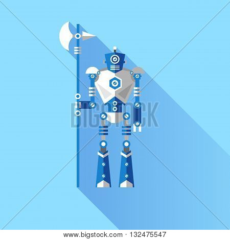 Vector illustration of a Robot knight. Elements for illustrations and design on a blue background.
