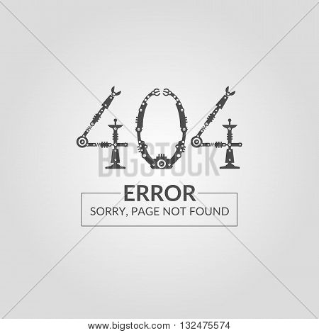 Vector illustration of Error 404. The page not found. For website design executed in black silhouette on a light background in a robot or techno style