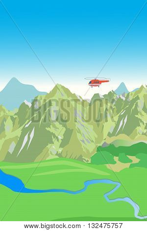 Mountain Range And Rescue Helicopter. Vector Background. Mountain View. Mountain Creek.