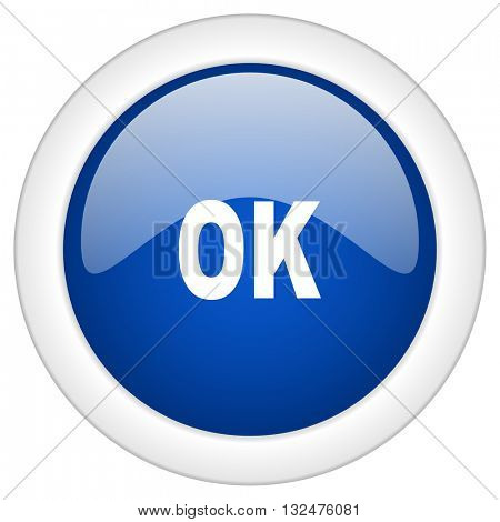 ok icon, circle blue glossy internet button, web and mobile app illustration