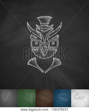 hipster owl icon. Hand drawn vector illustration. Chalkboard Design