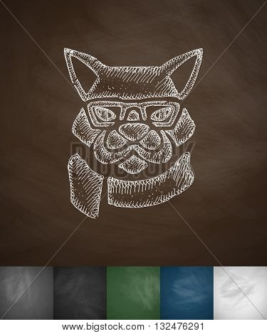 hipster dog icon. Hand drawn vector illustration. Chalkboard Design
