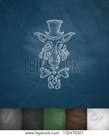 hipster giraffe icon. Hand drawn vector illustration. Chalkboard Design