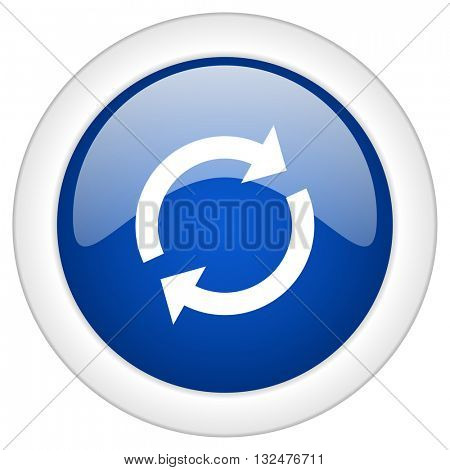 reload icon, circle blue glossy internet button, web and mobile app illustration