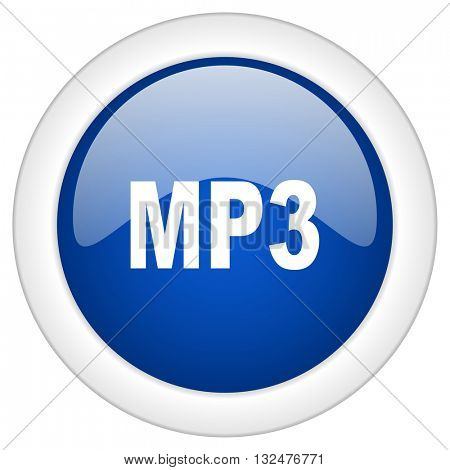 mp3 icon, circle blue glossy internet button, web and mobile app illustration