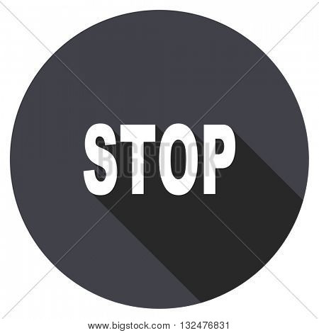 stop vector icon, round flat design button, web and mobile app illustration