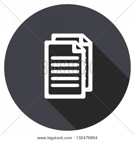 document vector icon, round flat design button, web and mobile app illustration