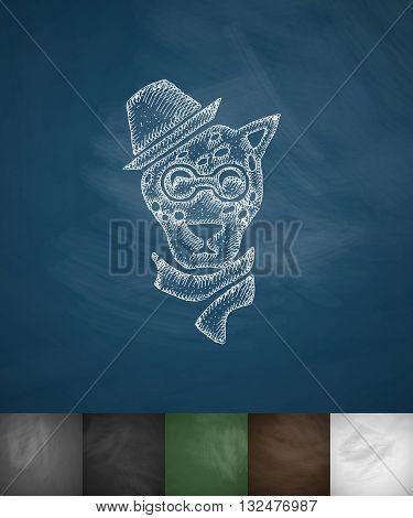 hipster leopard icon. Hand drawn vector illustration. Chalkboard Design