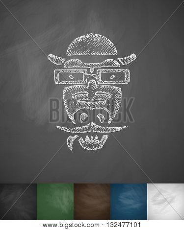 hipster crocodile icon. Hand drawn vector illustration. Chalkboard Design