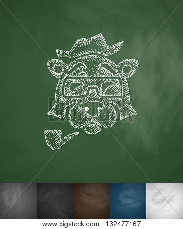 hipster bear icon. Hand drawn vector illustration. Chalkboard Design