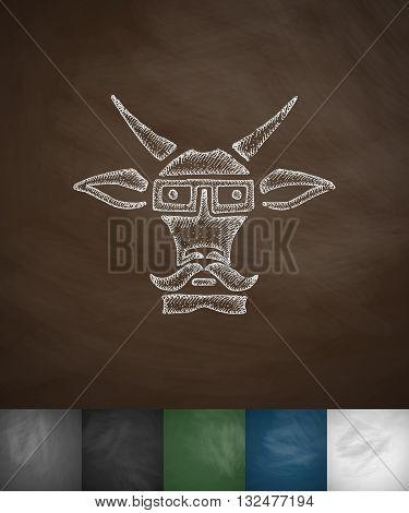 hipster goat icon. Hand drawn vector illustration. Chalkboard Design