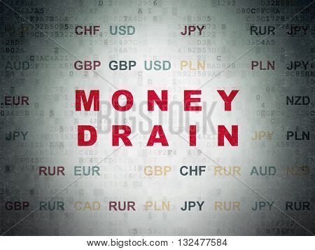 Money concept: Painted red text Money Drain on Digital Data Paper background with Currency