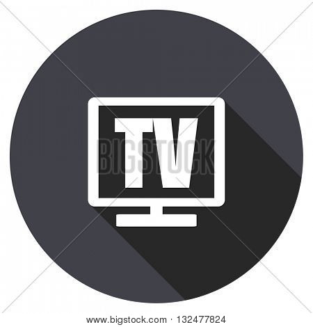 tv vector icon, round flat design button, web and mobile app illustration