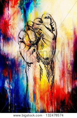 fist drawing, pencil sketch on paper, Color effect