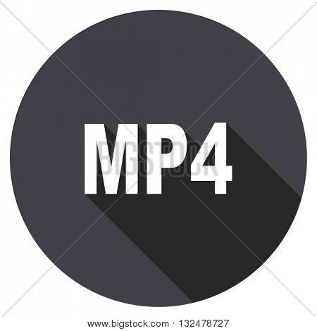 mp4 vector icon, circle flat design internet button, web and mobile app illustration