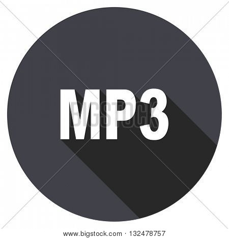 mp3 vector icon, circle flat design internet button, web and mobile app illustration