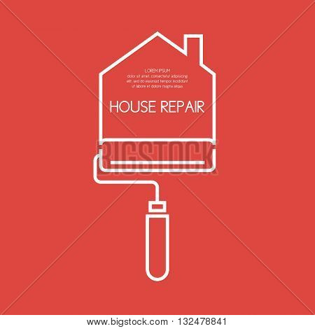 Vector illustration in a linear style with cushion and a field for your text for House repair. Elements and icons set for cards illustration poster advertising and web design.