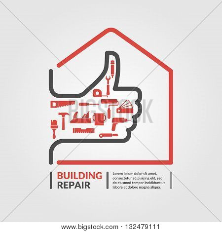 Vector illustration with a set of tools for the Repair of the building in a flat linear style. Elements and icons set for cards illustration poster and web design.