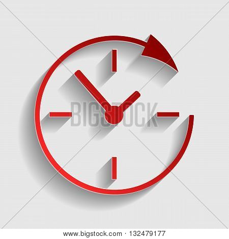 Service and support for customers around the clock and 24 hours. Red paper style icon with shadow on gray.