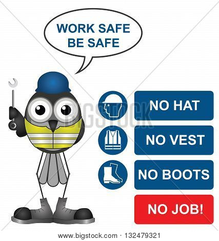 No hat no boots no vest no job construction site sign to current British Standards with work safe be safe message isolated on white background