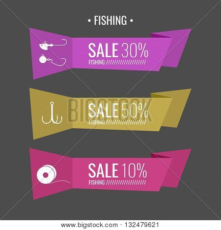 Set of vector stickers for sale Fishing tackle in flat style Fishing reels hooks bait. Vector elements. Icons and illustration for design site infographics poster advertising.