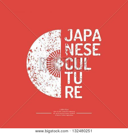 A poster with the text of the Japanese culture. The symbol of Japan - a fan on the red background in vintage style. Vector elements and icons for cards illustration poster and web design.