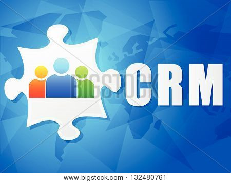 CRM - customer relationship management and puzzle piece with person signs over blue background, flat design, business concept, vector