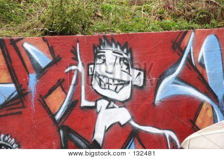 Graffiti On Retaining Wall