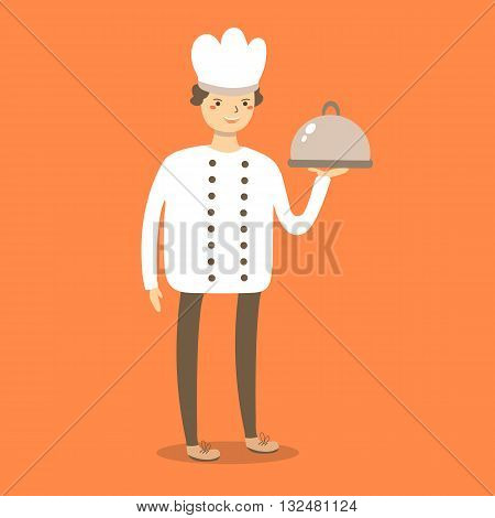 Cute flat style chef cook in white uniform hat with dish. Chef cook character icon