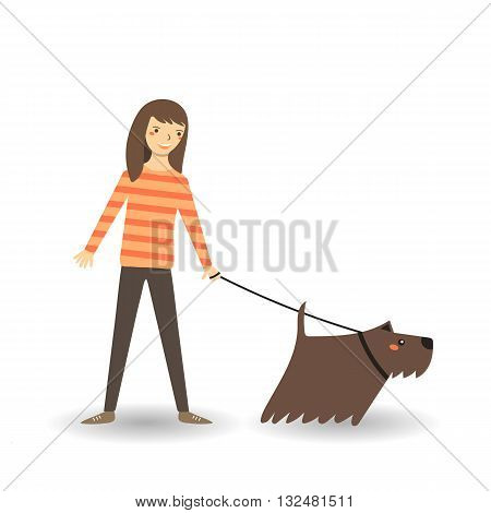 Cute flat style girl with dog. Girl walking with dog. Young lady woman dog character icon background