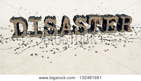 3D computer generated image showing disaster word crushing over ground. As a results cracks and rock debris appear.