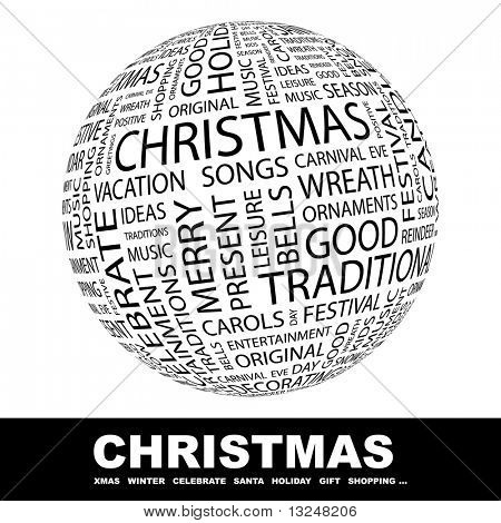 CHRISTMAS. Globe with different association terms.